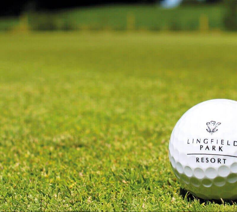 A Lingfield Park Resort branded golf ball on a green at Lingfield Park Resort.