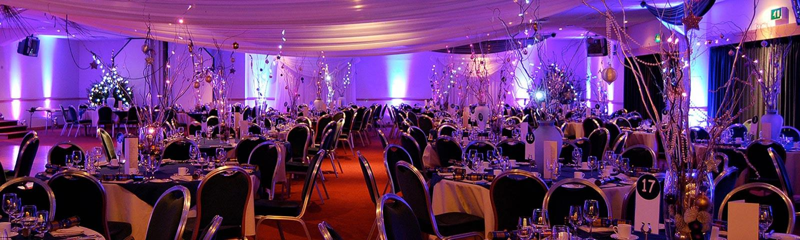 A beautifully decorated party room at Lingfield Park Resort.