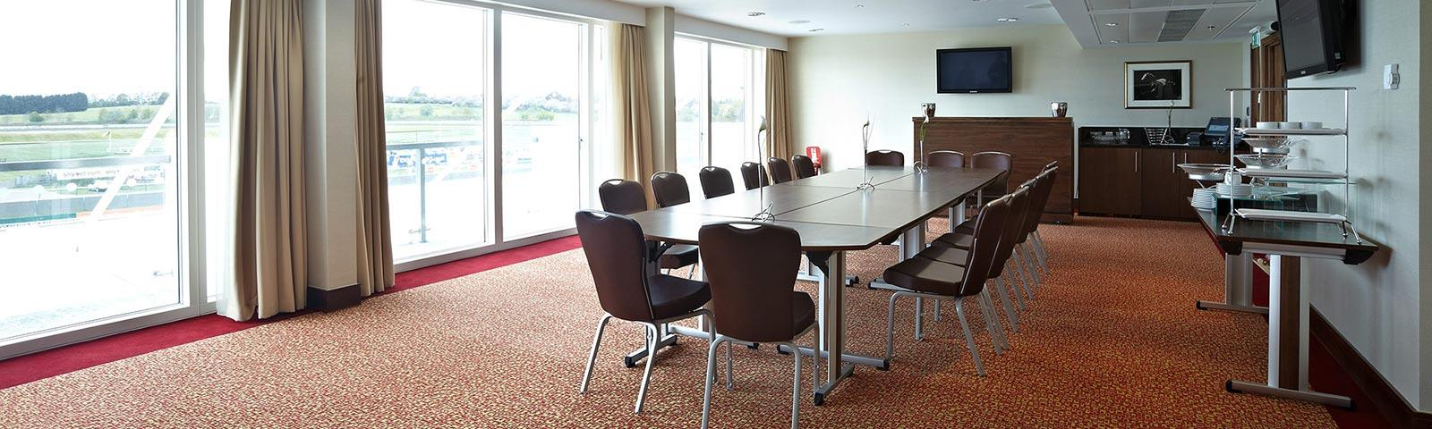 Example of a board room set up for a meeting.