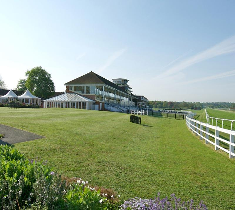 View of the main grandstand at Lingfield Park Resort.