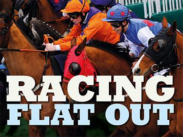 Event banner featuring group of jockeys racing.