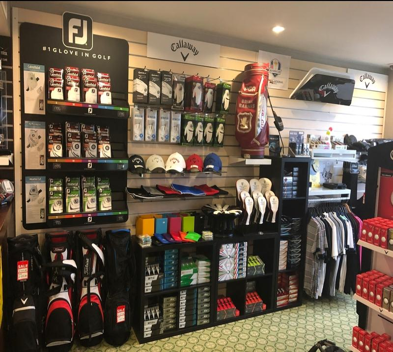 fully stocked pro shop at lingfield park resort golf club in surrey, near london