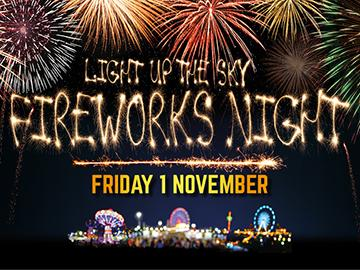 fireworks night, family fun, friday 1 november, bonfire, side stalls, food, funfair rides.