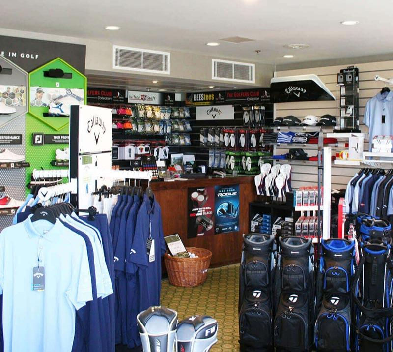 An collection of some of the items on sale in the Golf Shop ant Lingfield Park Resort.