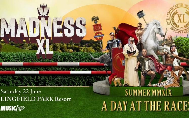 Promotional banner for meet and greet with Madness at Lingfield Park.